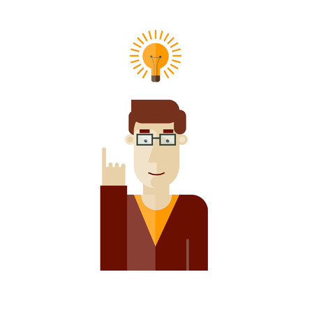 great success: Man having a great idea. Vector illustration. Flat design.
