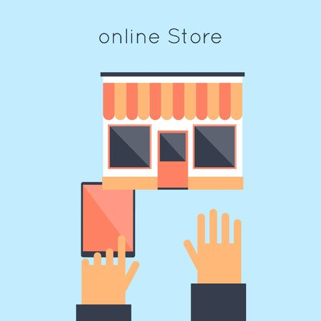 vector illustration: On-line store. Flat design vector illustration.