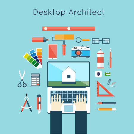 architecture project: Architects workplace. Architecture planning on laptop top view. Architectural project, architectural plan, technical project. Engineering for building houses. Flat design