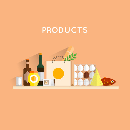 food and drinks: Composition with food products. Food, meals, drinks and fish. Flat design. Vector illustrations.
