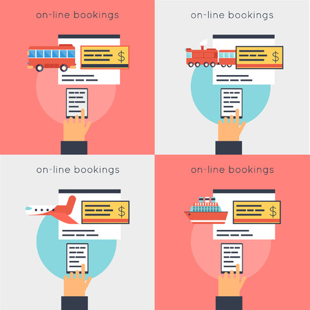 reservation: On-line ticket reservation: bus, plane, train, ship. 4 compositions. Flat design vector illustrations. Illustration