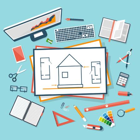 arquitecto: Proceso de planificación de la construcción diseño plano. Arquitectos lugar de trabajo. Planificación de la arquitectura en la vista superior del papel. Proyecto arquitectónico, proyecto arquitectónico, proyecto técnico. Ingeniería para la construcción de casas.