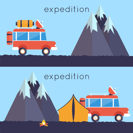 offroad car: An illustration of off-road car on mountain road. Investigation untouched corners of nature. Hiking, travel, expedition. Travel by land. Outdoor Adventure. 2 banners. Vector illustration. Flat style. Illustration