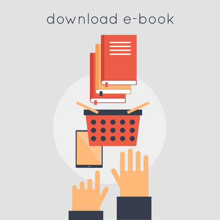 favorite book: E-book download. Favorite book. Recommended books. Hands and e-book. Vector illustration in flat style.