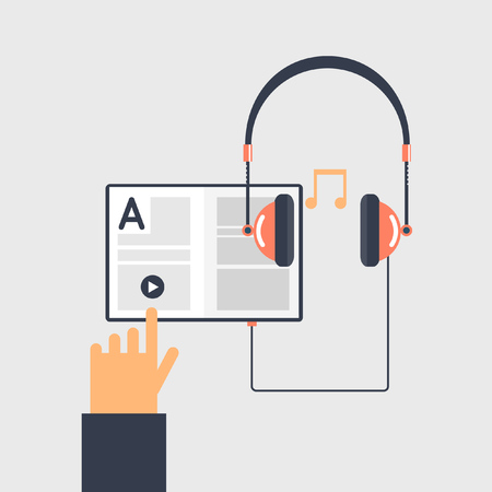hand press: Audio book and e-learning concept. Book, headphones, hand and play sign. Hand press play icon. Flat vector illustration. Illustration