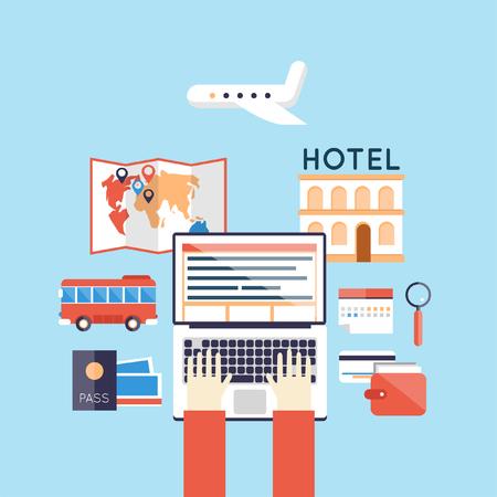 ling: On-line booking. Summer holiday. Hands on laptop. Travel, tourism. Flat design vector illustration.