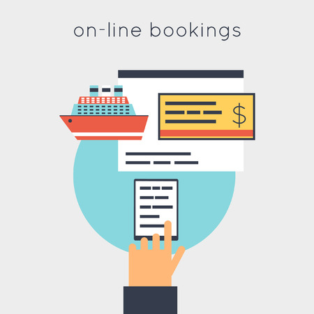 reservation: On-line ticket reservation ship. Flat design vector illustrations