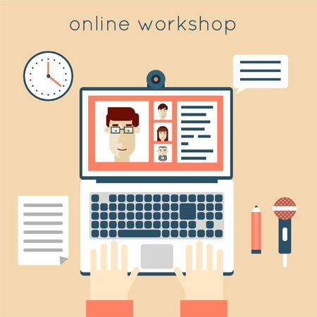 workshop seminar: On-line workshop. Business seminar, webinar and training. Hands on laptop. Flat illustration.