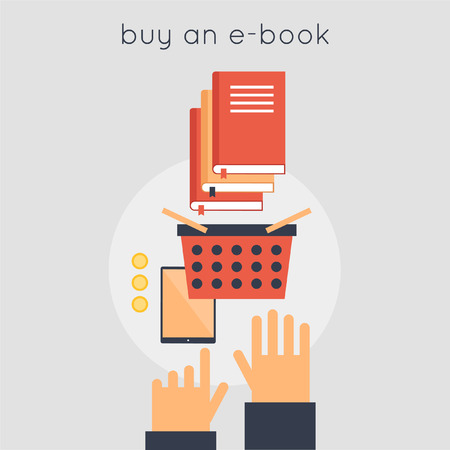 favorite book: E-book buy. Favorite book. Recommended books. Hands and e-book. Vector illustration in flat style. Illustration