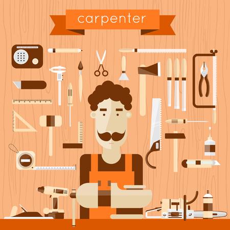 herramientas de trabajo: Carácter Carpintero en el trabajo. Carpintería, carpintero, carpintería, lugar de trabajo. Herramientas de mano de construcción. Árbol textura de fondo. Vector plana ilustración. Vectores