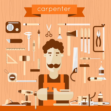 work tools: Carpenter character at work. Carpentry, woodworker, joinery, workplace. Construction hand tools. Tree texture background. Vector flat illustration.