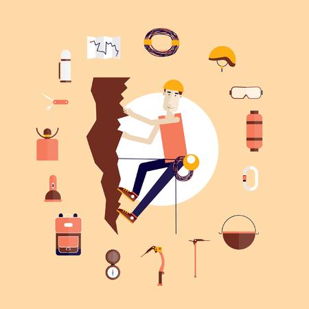 climbing: Mountain climbing. Rock climber. Extreme sport. Icons set. Flat style vector illustration.