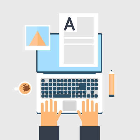 laptop vector: Blogger workplace. Top view. Hands on laptop. Vector flat illustration.