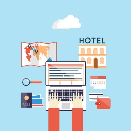ling: Hotel on-line accommodation booking. Hands on laptop. Summer holiday. Flat design vector illustration. Illustration