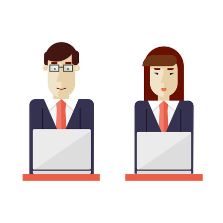 Businessman and businesswoman sitting working on computer. Flat design vector illustrations.