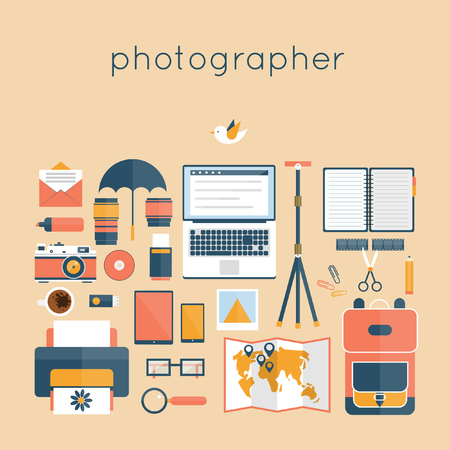 the photographer: Desktop photographer. Workspace with camera, computer, umbrella, film, book, lens, photo, coffee, tripod top view. Flat design vector illustration. Illustration