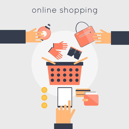 business products: On-line store shopping. Internet shopping. Vector illustration flat design.