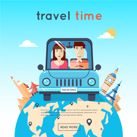 road trip: Man and woman traveling by car, Egypt, USA, Japan, France, England, Italy. World Travel. Planning summer vacations. Summer holiday. Tourism and vacation theme. Flat design vector illustration.