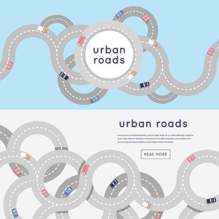 transporte: Movimentadas estradas de asfalto urbano e transportes. 2 bandeiras com lugar para o texto. Vista de cima. Ilustração vetorial estilo de apartamento.