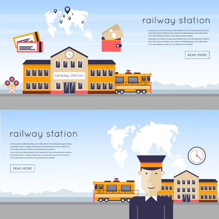 tour operator: Railway station concept. Driver of the train station on the background of the train and maps. Train, watch, backpack, map, train station, rails. Flat icons vector illustration. Illustration