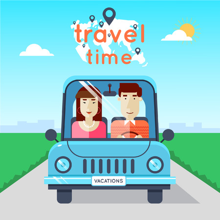 vacation: Man and woman traveling by car. World Travel. Planning summer vacations. Summer holiday. Tourism and vacation theme. Flat design vector illustration.