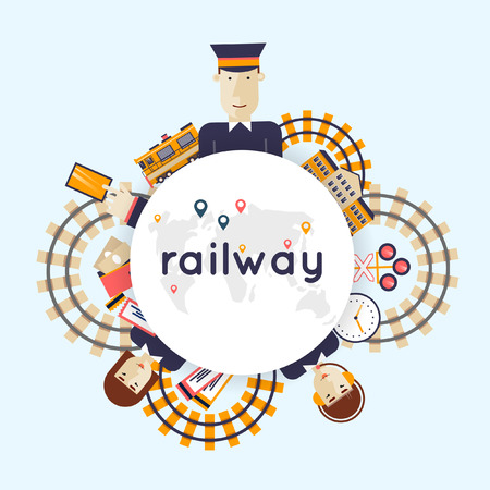 Railway. The driver of the train, controller and the railroad. Railway station concept. Flat style vector illustration. Illustration