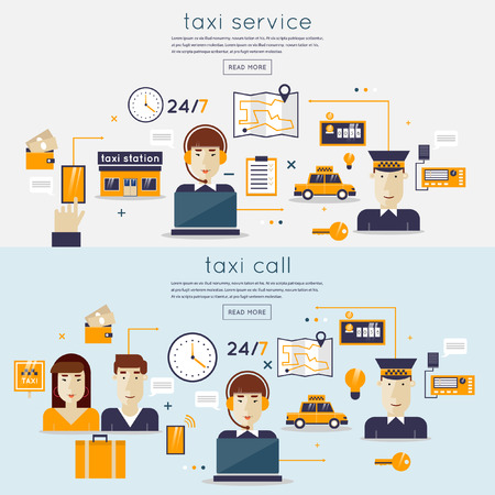 Taxi service concept with two passengers waiting a cab. Booking, payment. Taxi dispatcher, young woman talking on a headphone. Taxi driver. Taxi service concept. Flat design vector illustration. Illustration