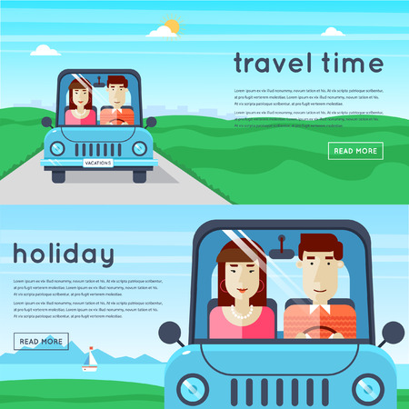 vacation: Man and woman traveling by car. World Travel. Planning summer vacations. Summer holiday. Tourism and vacation theme. 2 banners. Flat design vector illustration.