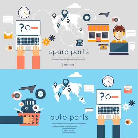 auto parts: Internet auto parts store. On-line shopping for auto. Search the Internet for auto. Flat style vector illustration. 2 banners with place for text.