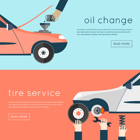 wheel change: Changing the oil in your car, tire and suspension repairs. Auto service. Auto mechanic repair of machines and equipment. Hands holding tools. Car diagnostics. Vector illustration flat icon. 2 banners.