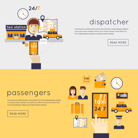 taxi: Taxi call. Dispatcher receives a call. Young woman talking on a headphone. Taxi service concept. Booking, payment. Set of flat icons. Flat design vector illustration. 2 banners with place for text.