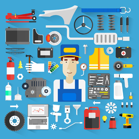 car plug: Car service. Auto mechanic repair of machines and equipment. Car diagnostics. Vector illustration and flat icons. Illustration