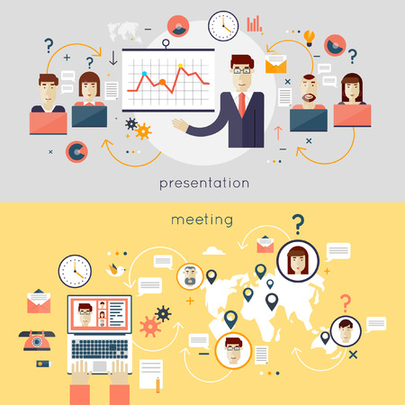 training room: Businessman giving a presentation. Business meeting. People talking on-line. Teamwork analyzing project on business meeting. Hands and laptop. Top view. Flat design vector illustration.