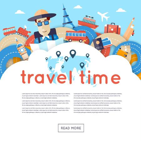 World Travel. De planning van de zomervakanties. Een man reist de wereld door de trein, vliegtuig, schip of bus. Wegen. Zomervakantie. Toerisme en vakantie thema. Platte ontwerp vector illustratie. Ontwerp van het materiaal. Stock Illustratie