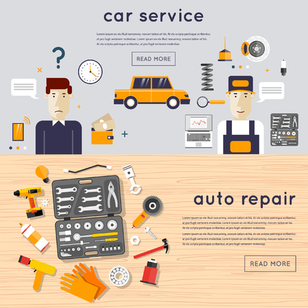 mechanic: Car service. A set of tools for car repair on a wooden table. Car client and mechanic. Auto mechanic repair of machines and equipment. Car diagnostics. Vector illustration and flat icons. 2 banners. Illustration