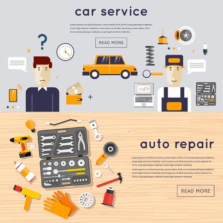 mecanico: Servicio de auto. Un conjunto de herramientas de reparación de automóviles en una mesa de madera. Cliente coche y el mecánico. Reparación Mecánico auto de máquinas y equipos. Diagnóstico de automóviles. Ilustración vectorial y los iconos planos. 2 banderas. Vectores