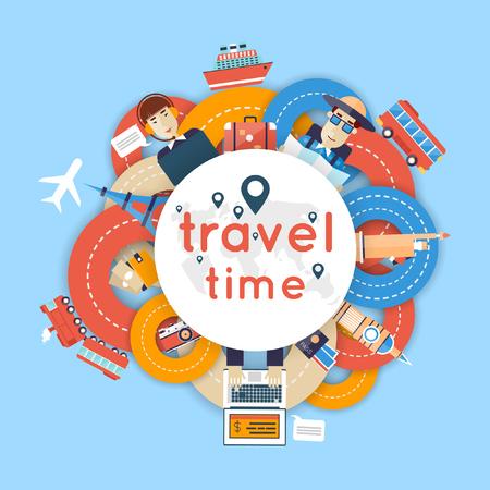 путешествие: Кругосветное путешествие. Планирование летние каникулы. Человек путешествует по миру на поезде, самолете, корабле или автобусе. Дороги. Летний отдых. Туризм и отдых тема. Квартира векторные иллюстрации дизайн. Материал конструкции.