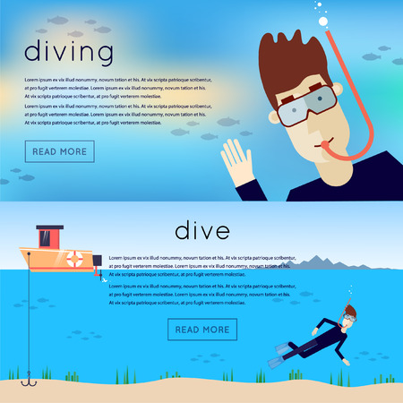 picada: Buceo. Hombre bajo el agua que agita. Mar, un barco flota hombre. Concepto del verano. mar ocio. 2 banderas con el lugar de texto. iconos planos ilustración vectorial.