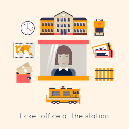 the railway: Railway station concept. Train, watch, backpack, map, train station, rails, kiosk, ticket selling. Flat icons vector illustration. Illustration