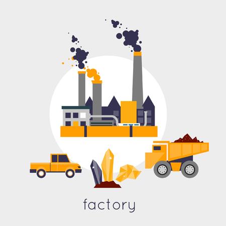 mining truck: La minería de minerales, minería negro, industria del carbón. Equipamiento para la industria minera. Industrias extractivas y de un pesados ??camiones. Fábrica de Nave industrial en el fondo. Ilustración vectorial Diseño plano. Vectores
