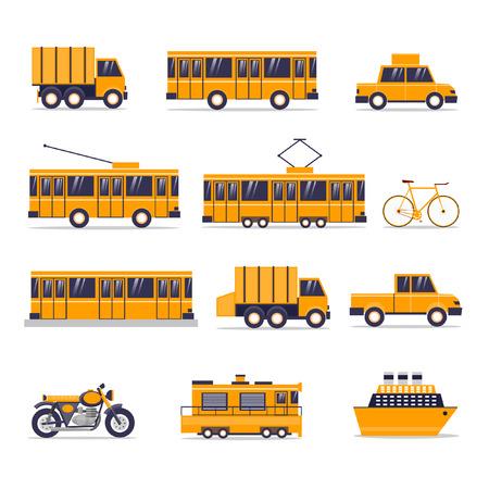 trolleybus: Urban transport: bus, subway, trolleybus, trashcan, bike, car, motorcycle, truck, tram, taxi, train, ship. Vector flst design.