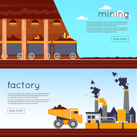 Mineral mining, black mining, coal industry. Mining industry equipment. Mining, quarrying and a heavy-duty trucks. Industrial building factory at background. Flat design vector illustration. 2 banners