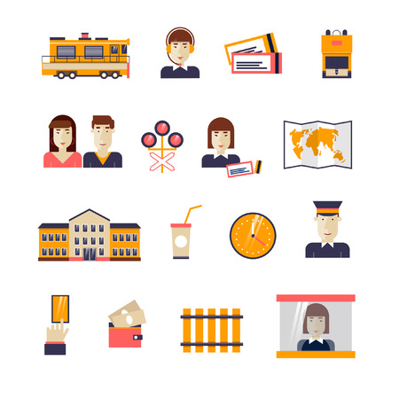 Railway set icons: train, conductor, train station, rails, passenger conductor, operator, traffic lights, map, backpack, card, cash, driver. Flat design.