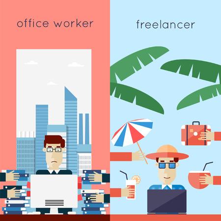 freiberufler: Freelancer und B�roangestellte. B�roarbeit. Flaches Design Vektor-Illustration.