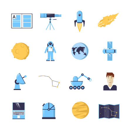 astronomer: Colorful space icons. Universe, science and technology. Elements for mobile and web applications. Flat design vector illustration.