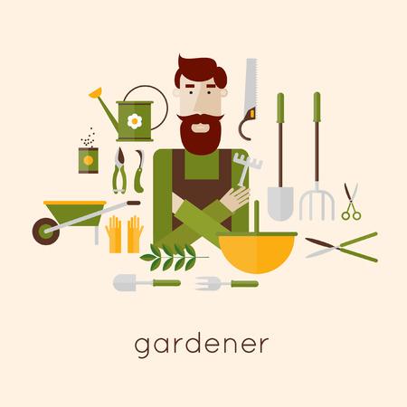landscape gardener: Man gardener and garden tools. Environmental activities. Gardening icons set. Modern flat style. Vector illustrations.
