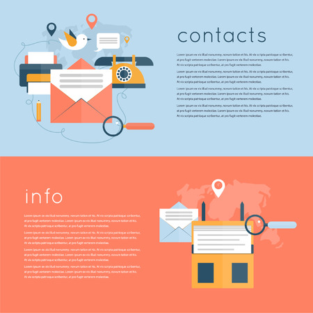 Contact us concept illustration, support. Web horizontal banners. About us. Flat design vector illustrations. Ilustração