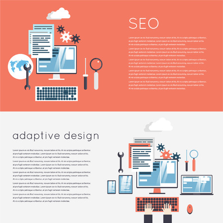 laptop vector: Adaptive Design. Responsive design of phone, tablet and laptop. SEO optimization, programming process. 2 banners. Flat design modern vector illustration.