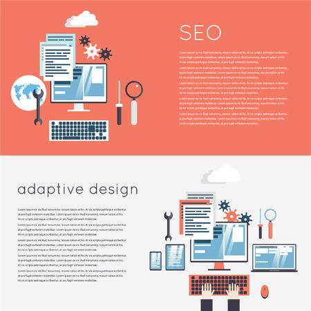 adaptive: Adaptive Design. Responsive design of phone, tablet and laptop. SEO optimization, programming process. 2 banners. Flat design modern vector illustration.