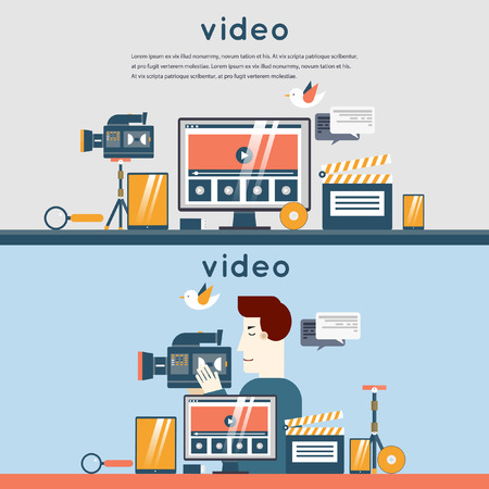 video camera icon: Video marketing. Man record video. Multimedia. Desktop, workspace, workplace. 2 banners. Set of flat design vector illustration. Set icons.
